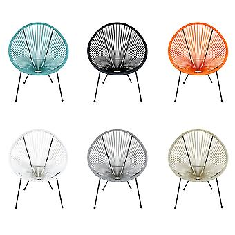 Charles Bentley Furniture Retro Lounge Single Chairs Made of Powder-Coated Steel in White / Black / Blue / Orange