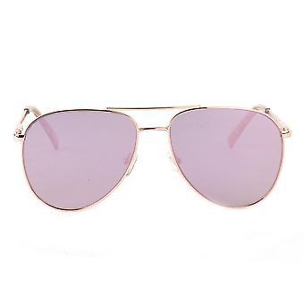 Le Specs Road Trip Rose Gold Aviator Sunglasses