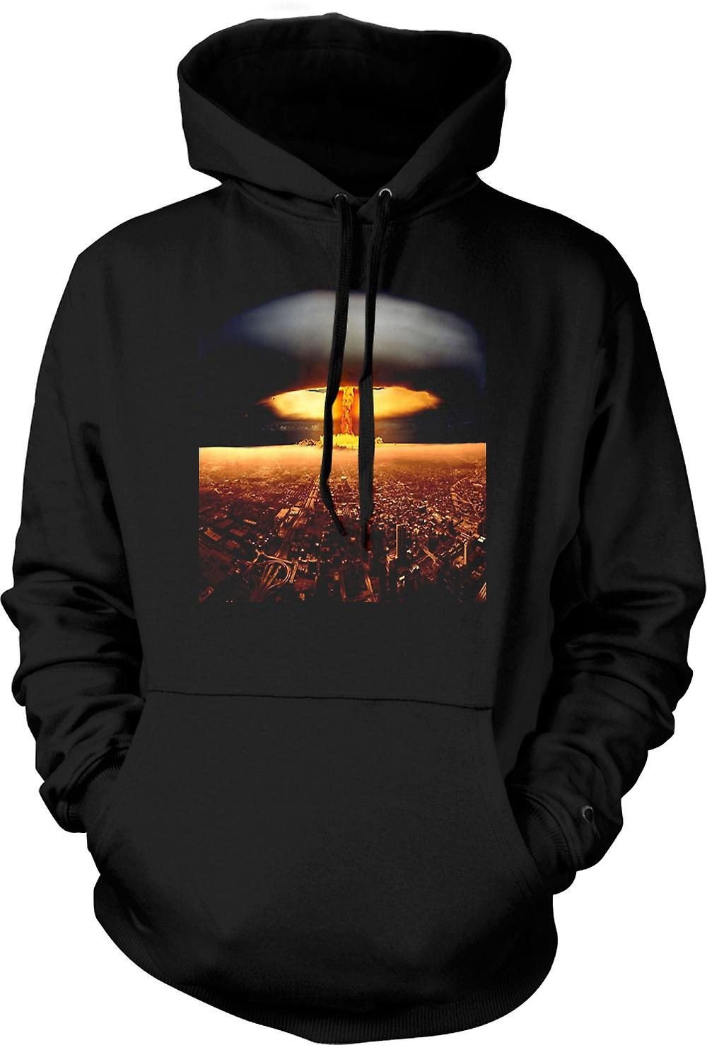 Mens Hoodie - Nuclear Mushroom Cloud On City - Cool