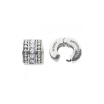 Storywheels Silver & Diamond 'Happy Anniversary' Clip S339D