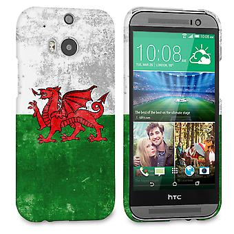 Caseflex HTC en M8 Retro Wales flagga fall