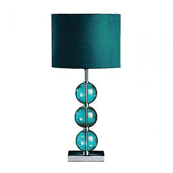 Premier Home Mistro Table Lamp, Stainless Steel, Suede, Teal