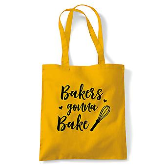 Bakers Gonna Bake Tote | Cake Scone Bread Pastry Biscuit Pie Patisserie | Reusable Shopping Cotton Canvas Long Handled Natural Shopper Eco-Friendly Fashion