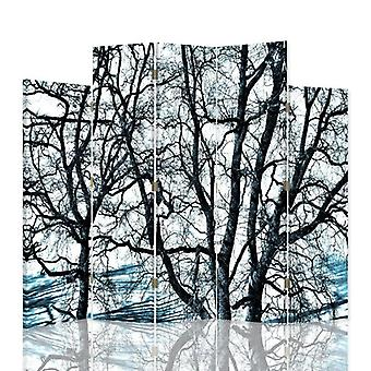 Decorative Room Divider, 5 Panels, Double-Sided, 360 ° Rotatable Canvas, Branches Of Trees