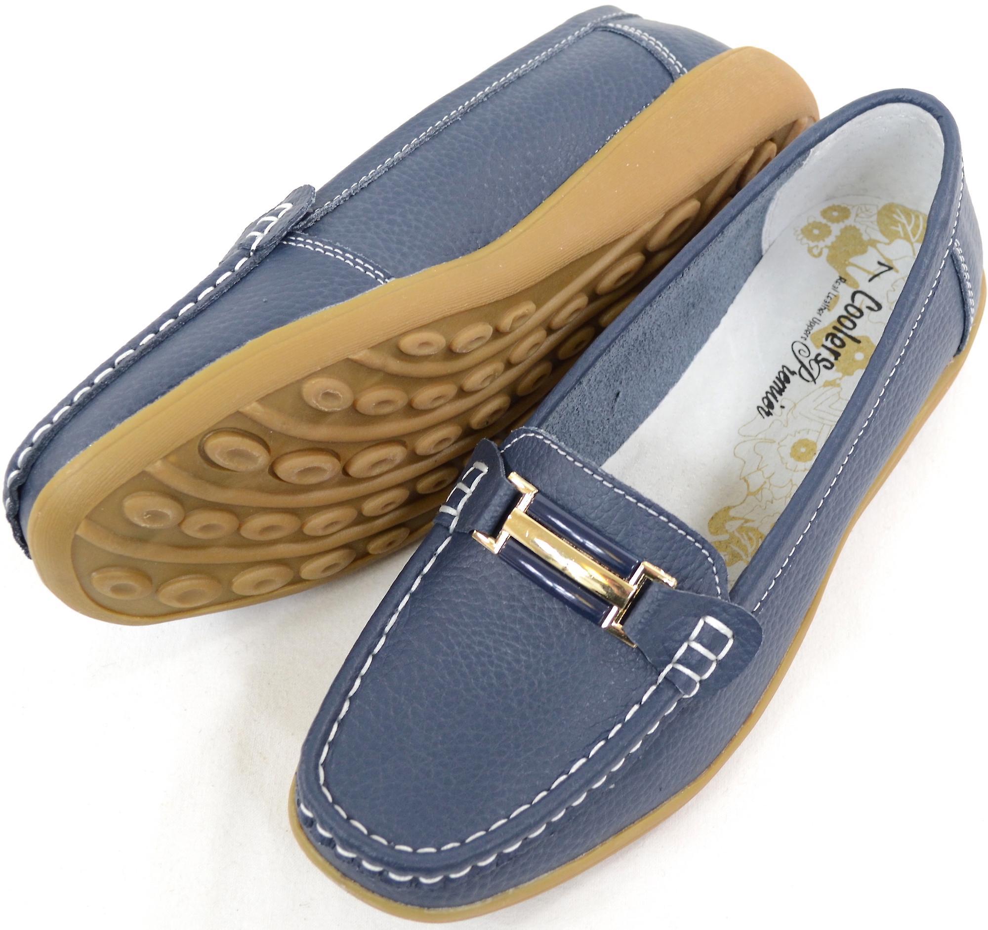 Damen / Damen Leder Smart / Casual / Sommer Slipper Schuhe - Navy - UK 5