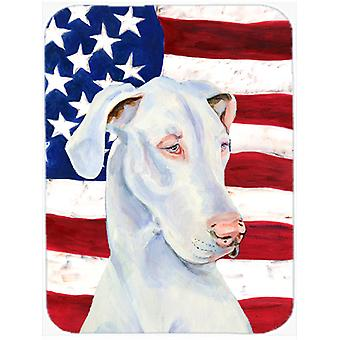 USA American Flag with Great Dane Glass Cutting Board Large