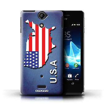 STUFF4 Case/Cover for Sony Xperia V/LT25i/America/American/USA/Flag Nations