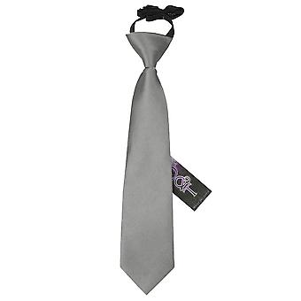 Boy's Plain Platinum Satin Pre-Tied Tie (2-7 years)