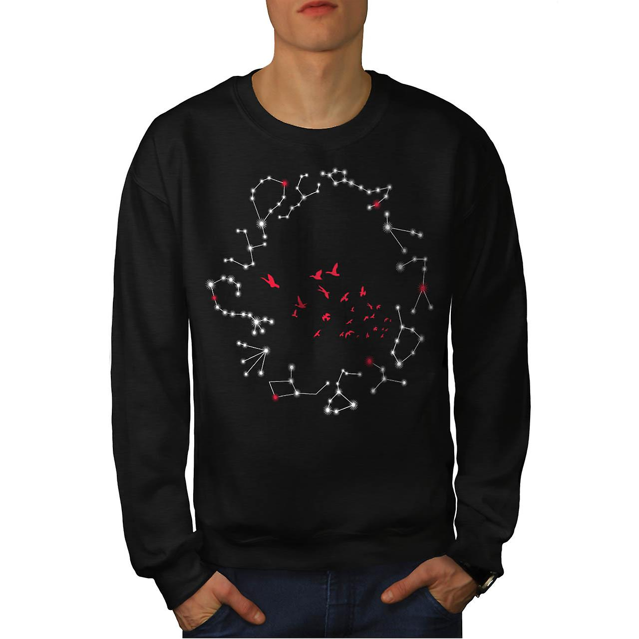 Flock Of Seagull Bird Crazy Print Men Black Sweatshirt | Wellcoda