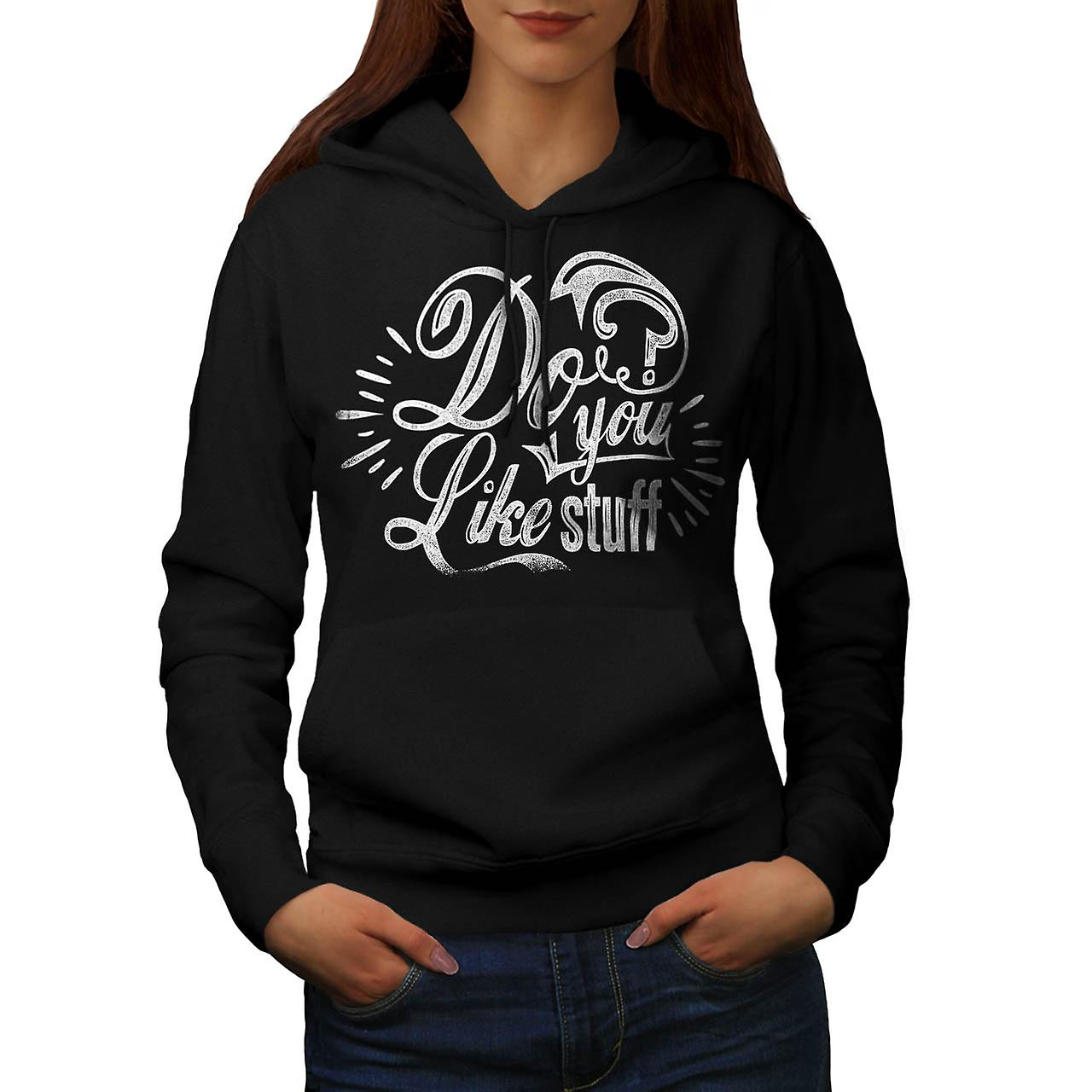 Do You Like Stuff USA Questions Women Black Hoodie | Wellcoda