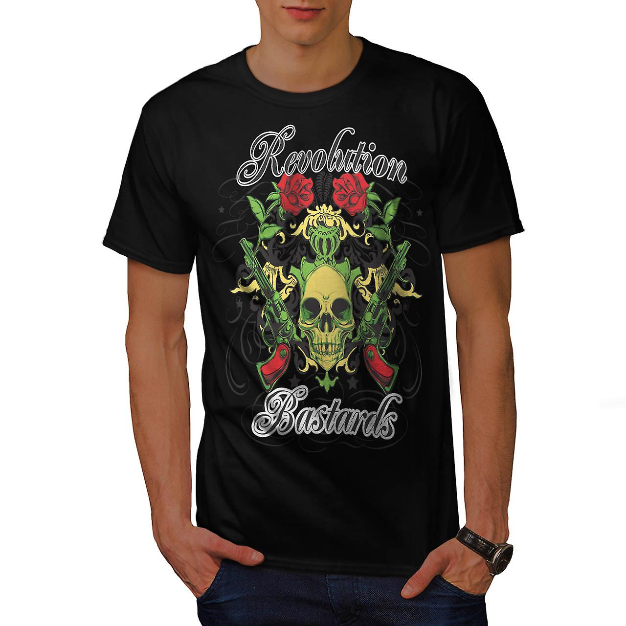 Revolution Bastards Roses Guns Men Black T-shirt | Wellcoda