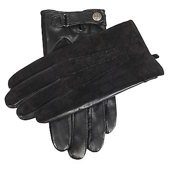 Dents Newmarket Suede Back and Hairsheep Leather Palm Gloves - Black