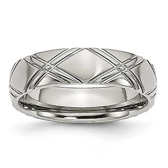 Stainless Steel Criss-Cross Design 6mm Brushed and Polished Band Ring - Size 6.5