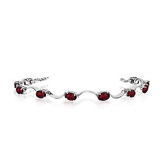 10K White Gold Oval Garnet Curved Bar Bracelet