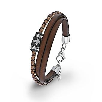 s.Oliver jewel mens bracelet stainless steel Leather Brown cross 2012631