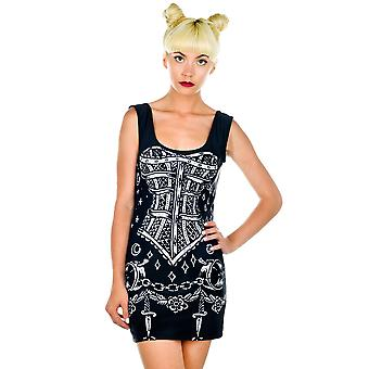 Rat Baby B***hcraft Trance Dress Black Corset Bodycon Sleeveless Scoop