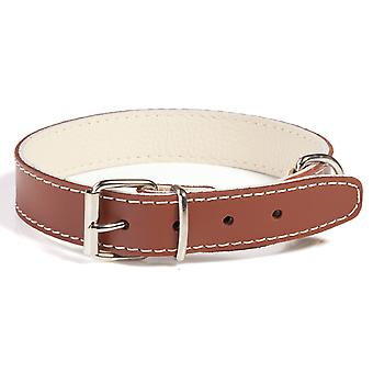 Doggy Things Plain Leather Dog Collar Brown 30cm