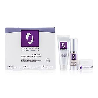 Osmotics mikro skræl hud Resurfacing System: Eksfolierende trækul maske 50ml / 1.7 oz + kollagen styrkelse Micro skræl 15 ml / 0.5 oz + beskyttende barriere creme 15 ml / 0.5 oz 3stk