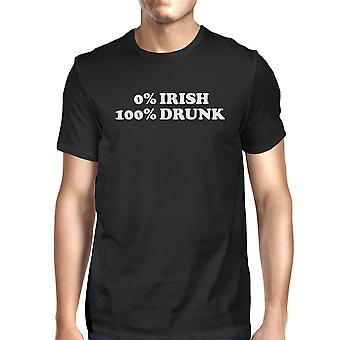 0% Irish 100% Drunk Men's Black T-shirt Funny Irish Graphic Shirt