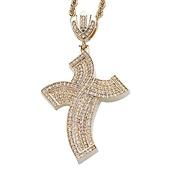 Iced out bling hip hop chain - swing cross gold