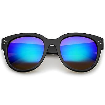 Women s Oversize Horn Rimmed Colored Mirror Lens Cat Eye Sunglasses 56mm d0244c9224