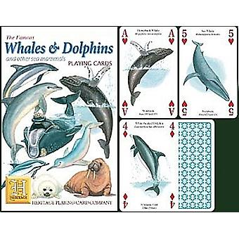 Whales and Dolphins set of 52 playing cards (+ jokers)    (hpc)