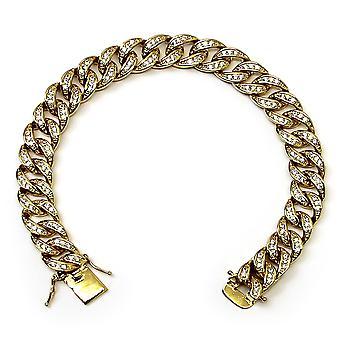 Or plaqué CZ Bracelet 10mm 8,5 pouces