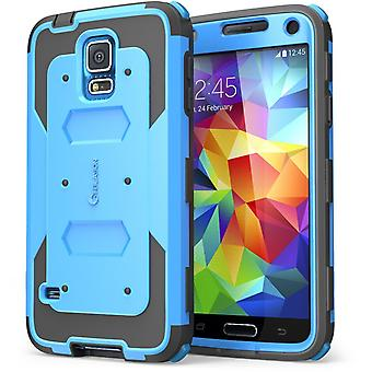 I-Blason-Samsung Galaxy S5- Armorbox Dual Layer Hybrid Full-body Cover-Blue