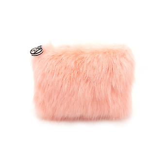 W7 Coral Fluffy/Furry Small Cosmetic Toiletry Make Up Bag