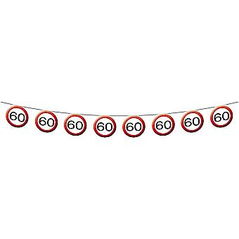 Pennant Garland traffic sign number 60 birthday decoration party