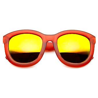 Frosted Frame Color Mirror Lens Bold Oversized Horn Rimmed Sunglasses