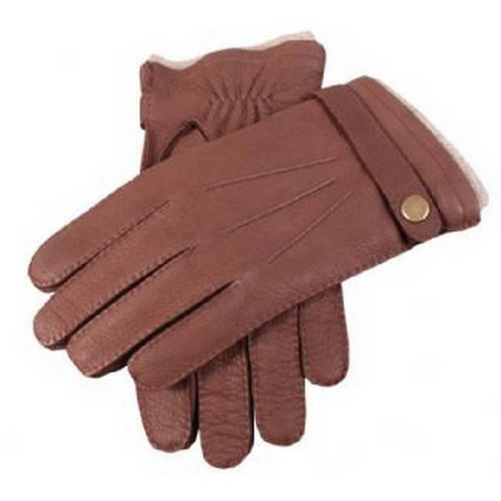 Dents Bark Casual Deerskin Gloves with Strap - Brown