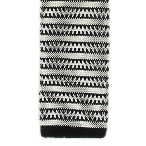 Michelsons of London Silk Knitted Patterned Stripe Skinny Tie - Black/White