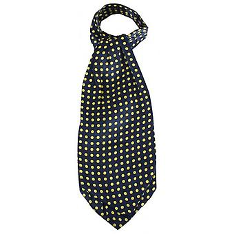 Knightsbridge Neckwear Polka Dot Silk Cravat - Navy/Yellow