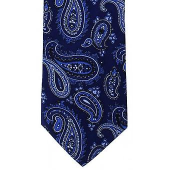 Michelsons of London Classic Printed Paisley Silk Tie - Navy