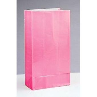 12 Pink Paper Party Bags | Kids Party Loot Bags