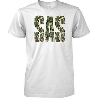 SAS Camo Words - Distressed - Worlds Best Special Forces - Mens T Shirt