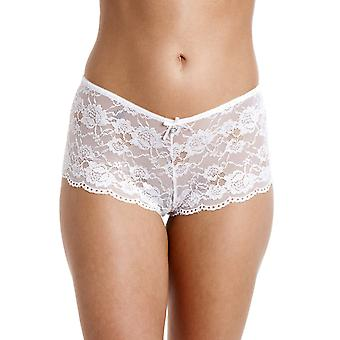 Camille White Lace Lingerie Bow French Knickers Lace Boxer Shorts
