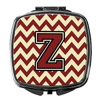 Carolines Treasures  CJ1061-ZSCM Letter Z Chevron Maroon and Gold Compact Mirror