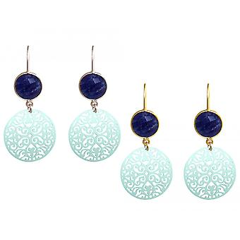 GEMSHINE ladies earrings with Mandalas and blue sapphires of excellent quality. Earrings made in Madrid, Spain. In the elegant gift box.