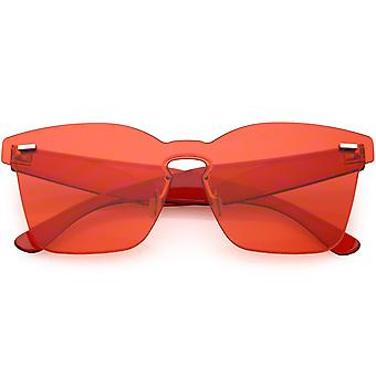 Oversize Rimless Horn Rimmed Sunglasses Keyhole Nose Bridge Mono Flat Lens 59mm