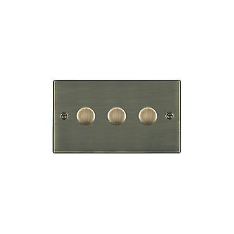 Hamilton Litestat Hartland Antique Brass 3G 400W 2 Way Dimmer
