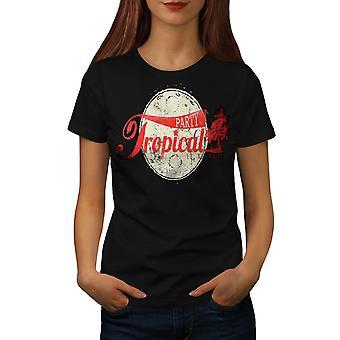 Tropischen Party Urlaub Frauen BlackT-Shirt   Wellcoda