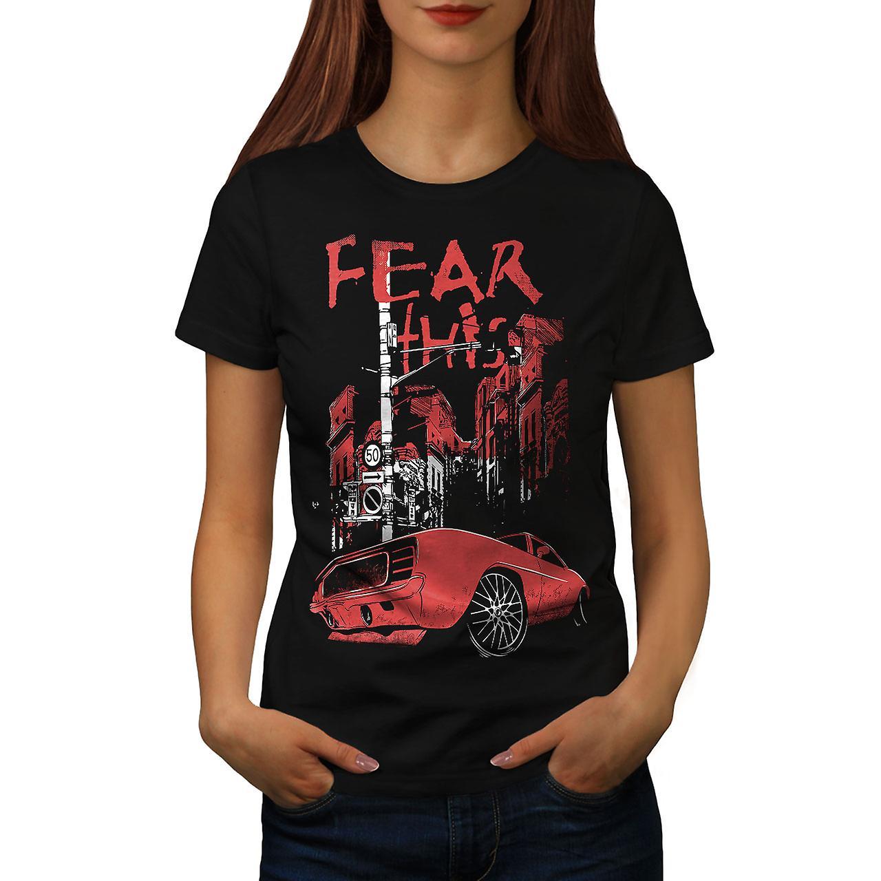 Fear Mustang Art Car Women Black T-shirt | Wellcoda