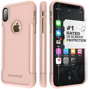 SaharaCase iPhone X caja de oro rosa, clásico paquete de Kit de protección con vidrio templado de ZeroDamage
