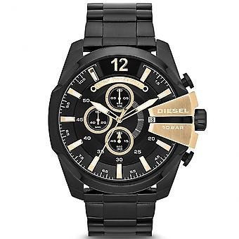 Diesel Dz4338 Mega Chief Black Ip & gull Chronograph menns ur