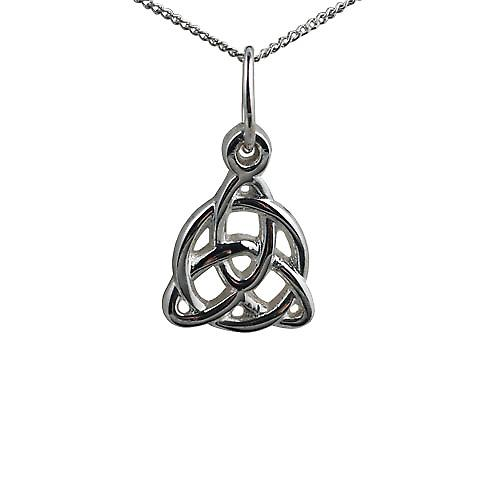 Silver 19x18mm Celtic Trinity knot design Pendant with a curb Chain 18 inches