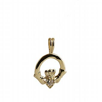 9ct Gold 20x15mm plain Claddagh Pendant set with Cubic Zirconia