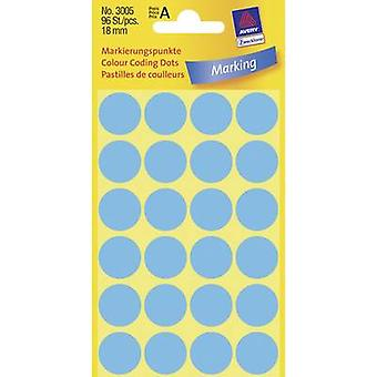 Avery-Zweckform 3005 Labels (hand writable) Ø 18 mm Paper Blue 96 pc(s) Permanent Sticky dots