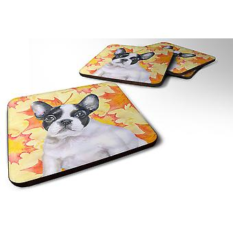 Set of 4 French Bulldog Black White Fall Foam Coasters Set of 4